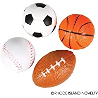12 Sports Stress Balls/Relaxation/Sensory/Teacher Supplies/Baseball/Football/Soccer/Basketball [並行輸入品]