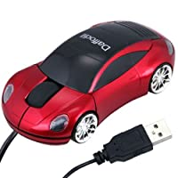 Daffodil WMS207R Wired Optical Mouse - 3 Button Car Shaped PC Mouse with Scrollwheel and LED Lights - For Laptop / Netbook / Desktop Computers - Supported by: Microsoft Windows (7 / XP / Vista) and Apple MAC (OS X +) - Novelty Porsche Shaped Mouse [並行輸入品]