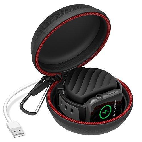 Apple Watch 充電スタンドと収納 ケース アップルウォッチシリーズ3/シリーズ2/シリーズ1/ナイキ+/42mm/38mm iWatch(黒い)