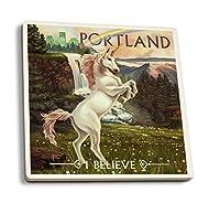 ユニコーンと虹–ポートランド、オレゴン州 4 Coaster Set LANT-47642-CT