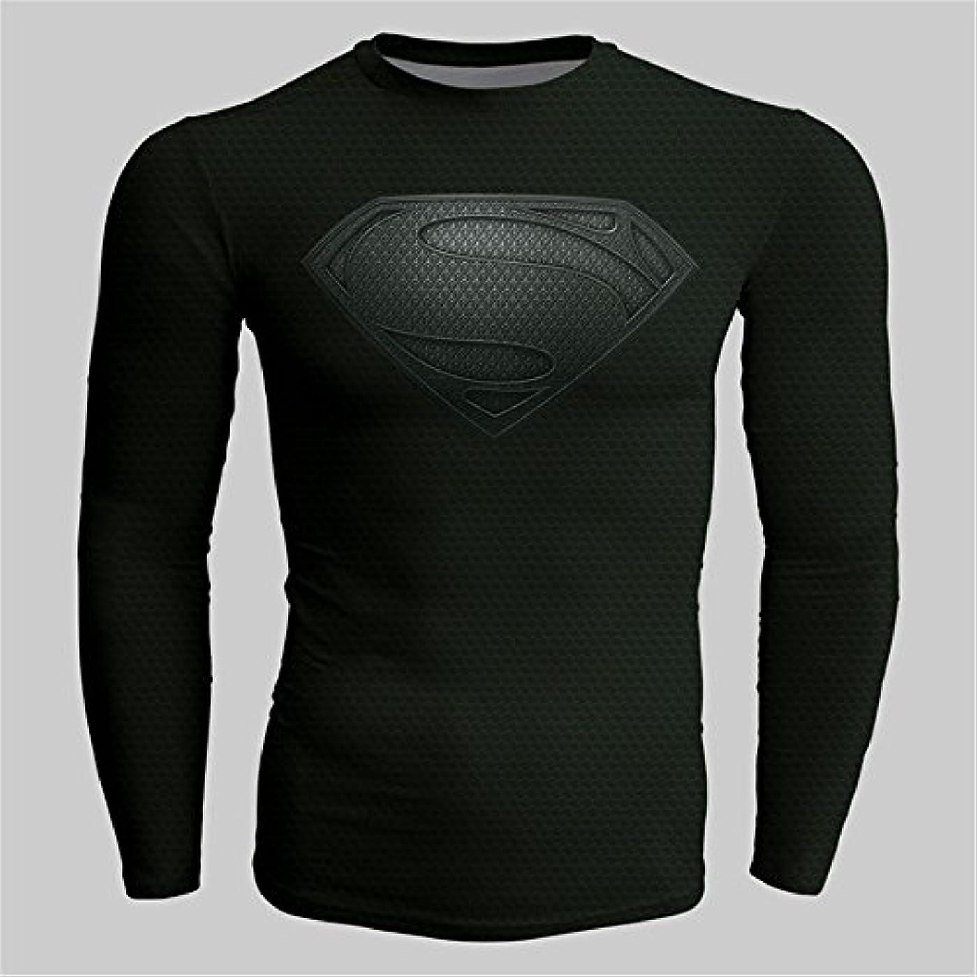便宜鋭くレンチNINI スーパーマン Tシャツ 速乾 スポーツ tシャツ 長袖tシャツ 3D高品質 プリント tシャツ ブラック