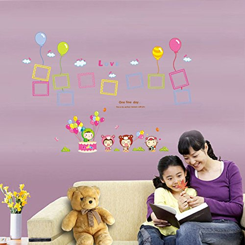 GOUZI The head of the bed lovely balloon frame decoration sticker affixed background wallpaper Removable wall sticker For Bedroom Living Room Background Wall Bathroom Study Barber Shop