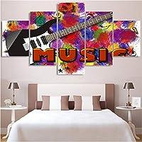 Wuyyii アートポスター壁モジュラー画像5パネル美しいフラワーガーデン現代絵画フレーム家の装飾プリントキャンバス用リビングルーム-20X35Cmx2/20X45Cmx2/20X55Cmx1