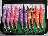 イカ 釣り 楽しくなります♪ カラフル な 10個エギ 3.5号 セット (1セット 10個)