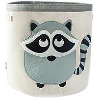 Grey Bee Animal Theme Collapsible Canvas Storage Bin for Kids Grey - Raccoon 【You&Me】 [並行輸入品]