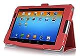 【IVSO】NEC LAVIE Tab E TE510/BAL PC-TE510BAL 10.1インチ/Lenovo Tab3 10専用ケースNEC LAVIE Tab E TE510/BAL PC-TE510BAL 10.1インチ/Lenovo Tab3 10カバー  PUレザーケース ペンホルダ/スタンド機能付き マグネット開閉式 超薄型 最軽量 全面保護型 5色可選 (レッド)