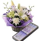 お供え 生花 アレンジメント 白紫 日本香堂 お線香 ローソク セット