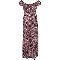 Fitibest Women's Short Sleeve Boho Swing Off Shoulder Floral Print Party Long Maxi Beach Dress (M, Purplish red)