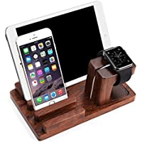 Apple Watch iPad iPhone Wooden StandFeitenn Bamboo Wood Charging Stand Desktop Station USB 2.0 Hub Bracket for iPhone 7 Samsung S8 LG G6 iWatch Ipad kindle (Dark Brown) [並行輸入品]