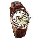 JewelryWe アンティーク ファション 腕時計 ローマ字 文字盤 世界地図柄 アナログ表示 男女兼用 クオーツウオッチ-[ブラウン]
