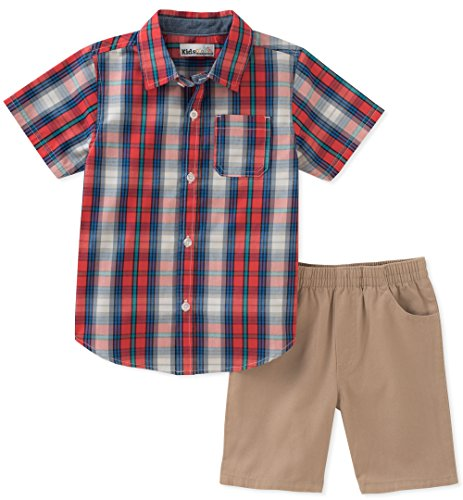 Kids Headquarters Baby Boys 2 Pieces Shirt Shorts Set, Red/Blue, 18M