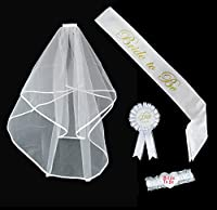 jazzoo bachelorette party accessory kit including bridal wedding veil, lace sash, rosette badge & bride to be garter