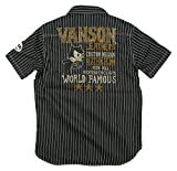 (バンソン)VANSON × FELIX THE CAT コラボ 刺繍 マチ付 半袖 ウォバッシュストライプ ワークシャツ M WABASH(ブラック×生成り)