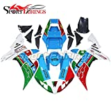 Sportfairings バイク カウル 外装パーツセット 適合 ヤマハ Yamaha YZF 1000 R1 2002 2003 年 02-03 No.46 緑と赤と青 ボディワーク
