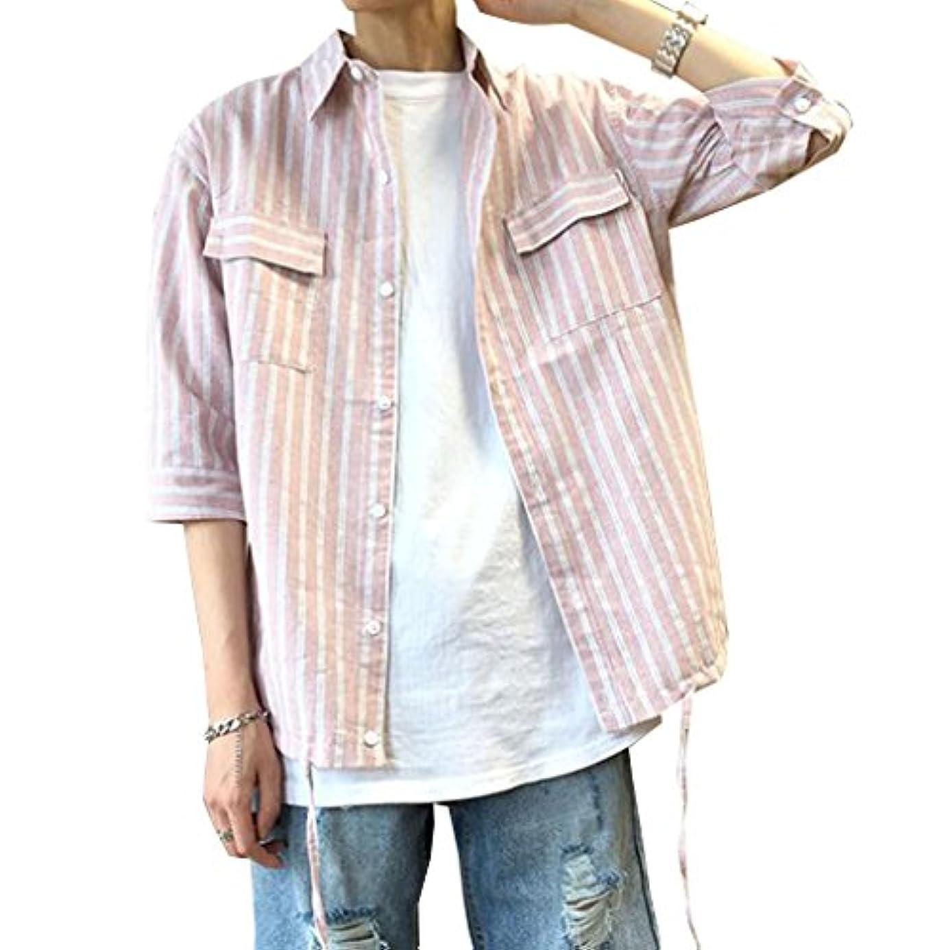 行浴海軍PuHao (プハオ) 五分袖シャツ 襟付き ポケット付き ストライプシャツ ストレッチ オックス スリム シャツ メンズ ボタンダウン ワイドカラー 無地