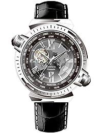 Time100 受賞人気男性腕時計 自動巻き ローマ字 ワールドタイム スケルトン 本革 メンズ腕時計 紳士#W60129G (スチール)
