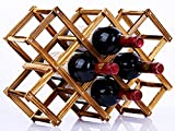 W14 選べるサイズ 折りたたみ式 ワインラック 木製 ビンテージ ホルダー ワイン シャンパン ボトル ウッド 収納 ケース スタンド インテリア ディスプレイ (10本収納)