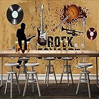 Xxzzdn 写真の壁紙ファッションレトロKtvの壁紙ギターコンサートの背景の壁カスタムカフェの壁紙カスタム壁画-120X100Cm