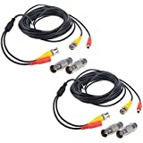 Flashmen 2-Pack 25ft HD Video Power Security Camera Cables Pre-made All-in-One Extension Wire Cord with BNC Connectors for CC