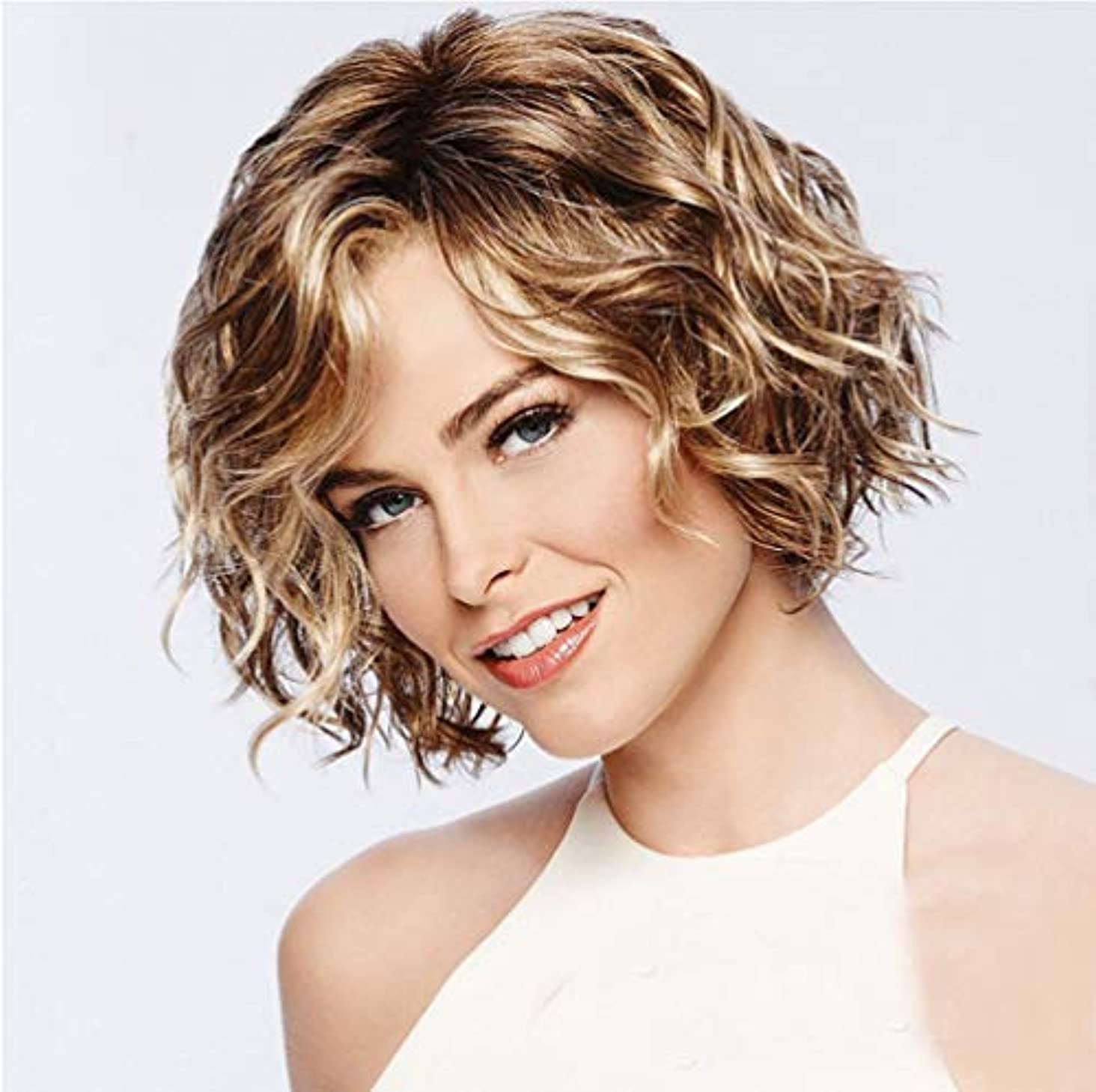 ガレージ負空白かつら女性ボボカーリー合成耐熱繊維毛魅力的なファッショナブルなかつらゴールデングラデーション28センチ