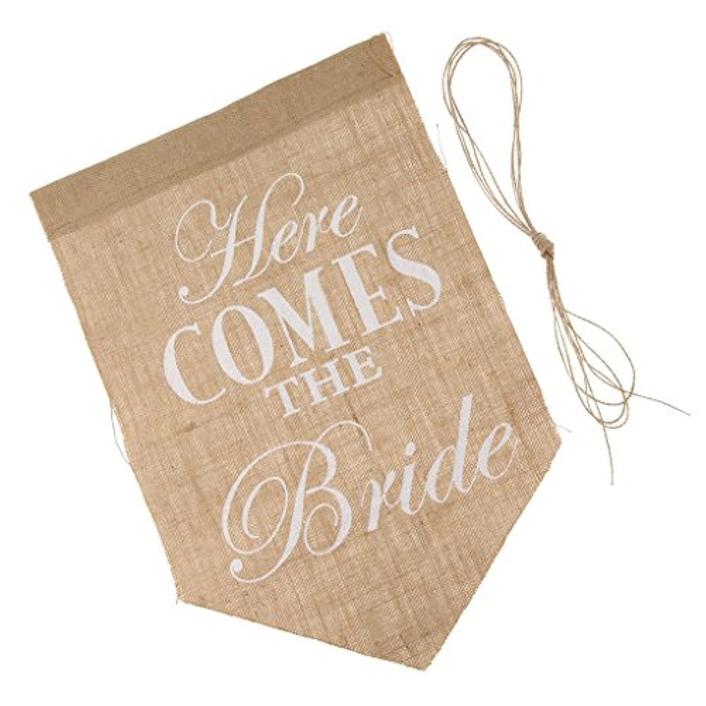 Fenteer 結婚式のサイン 花嫁 旗 結婚式 方向サイン 「Here Comes The Bride」 英文字 飾り付け