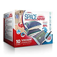 SpaceSaver プレミアムスペースセーバー真空ストレージバッグ、任意の掃除機に、80%以上のストレージスペース携帯用ハンドポンプ付き Jumbo (40 x 30 Inch) クリア SSJ10