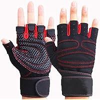 Vocni(ワクニー) トレーニンググローブ ジム 筋トレ リストフラップ付き 滑り止め 換気性 ハーフフィンガーグローブ 自転車グローブ 手袋