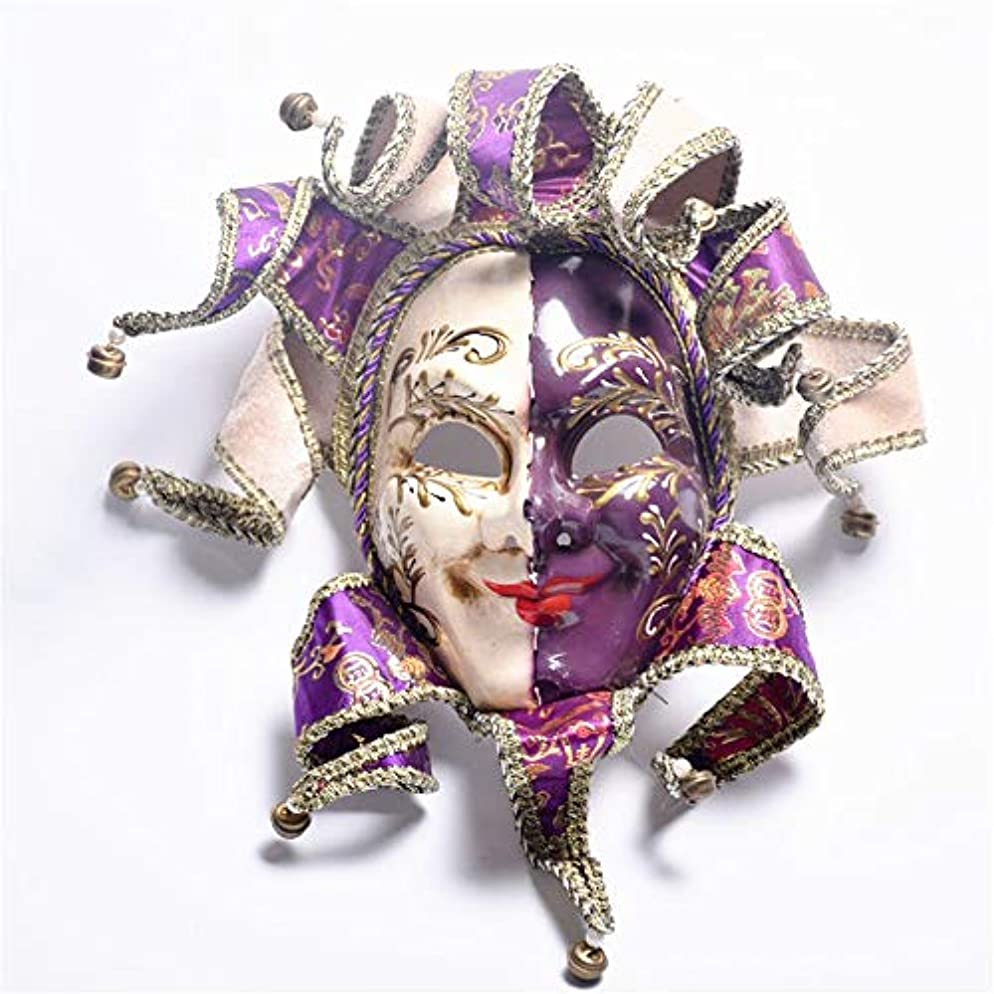 ダイヤモンド脅威飢饉ダンスマスク 塗装フルフェイスパフォーマンス小道具ハロウィンパーティー仮装祭りロールプレイナイトクラブパーティープラスチックマスク パーティーマスク (色 : 紫の, サイズ : 50x36cm)