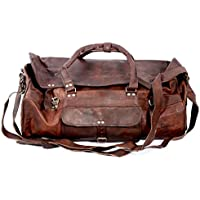 SC Leather 24 Inch Square Duffel Travel Gym Sports Overnight Weekend Leather Bag Luggage