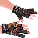 Sougayilang 3 Low-cut Fingers Skidproof Fishing Gloves Anti Slip Fishing Rod Tackle Gloves Outdoor Sports