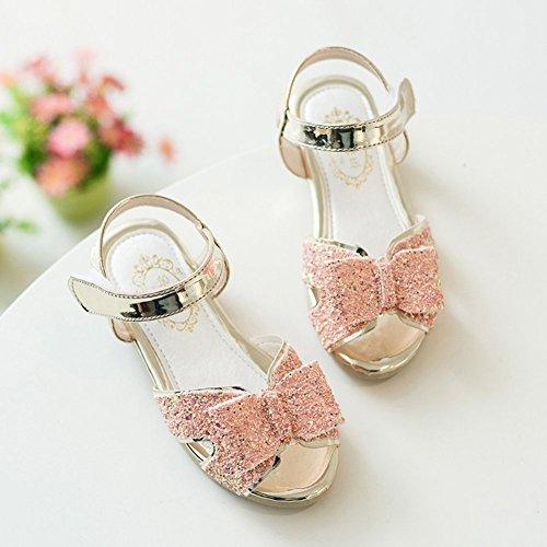 (チェリーレッド) CherryRed 子供靴 女の子 お嬢様 ジュニア 歩きやすい ビーチサンダル 柔らかい 真夏靴 かわいい きらきら リボン 36 ゴールド