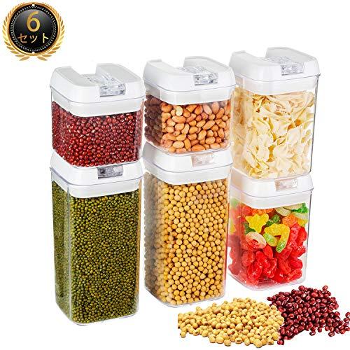 保存容器 食品貯蔵容器 密閉貯蔵タンク 角型容器 調味料入れ 透明 抗菌タンク キャニスター 6点セット(500ML×2個、800ML×2個、1.2L×2個)