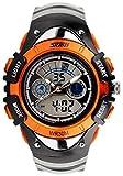 5 色 キッズ 子供 用 ダイバーズ LED ライト 多機能 腕 時計 デジアナ 防水 ストップ ウォッチ スポーツ アウトドア (オレンジ)