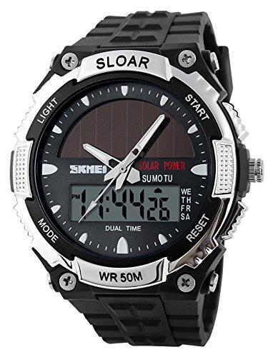 ソーラー腕時計 メンズ デジアナウォッチ スポーツ 人気ブランド おしゃれ ファション クロノグラフ シリコン [並行輸入品]