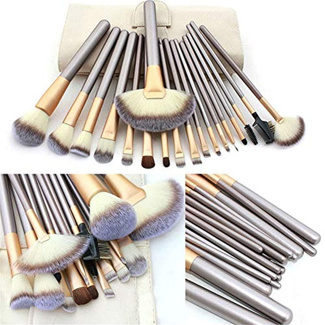 橋脚バクテリア小数Makeup brushes ナイロンヘア、PUレザーエクリュメイクアップブラシセットポーチ、18個プロフェッショナルメイクアップブラシカウンターシンク suits (Color : Beige)