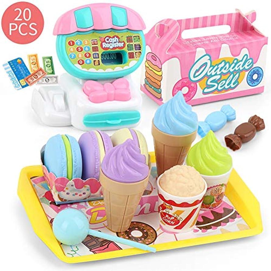背骨疎外するギターACHICOO お店屋さん ままごと ごっこ遊びミニ スーパーマーケット レジおもちゃセット デザート フルーツ ショッピングカートおもちゃ 子供 20個のデザートレジ