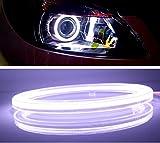 高輝度 COB LED リング ライト 2個 セット カバー 付き 12V イカリング エンジェルアイ (白(White), φ100mm)
