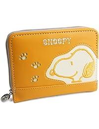 [スヌーピー] SNOOPY 財布 レディース 二つ折り ラウンドファスナー 二つ折り財布 刺繍 足跡 パンチング 雑貨 グッズ