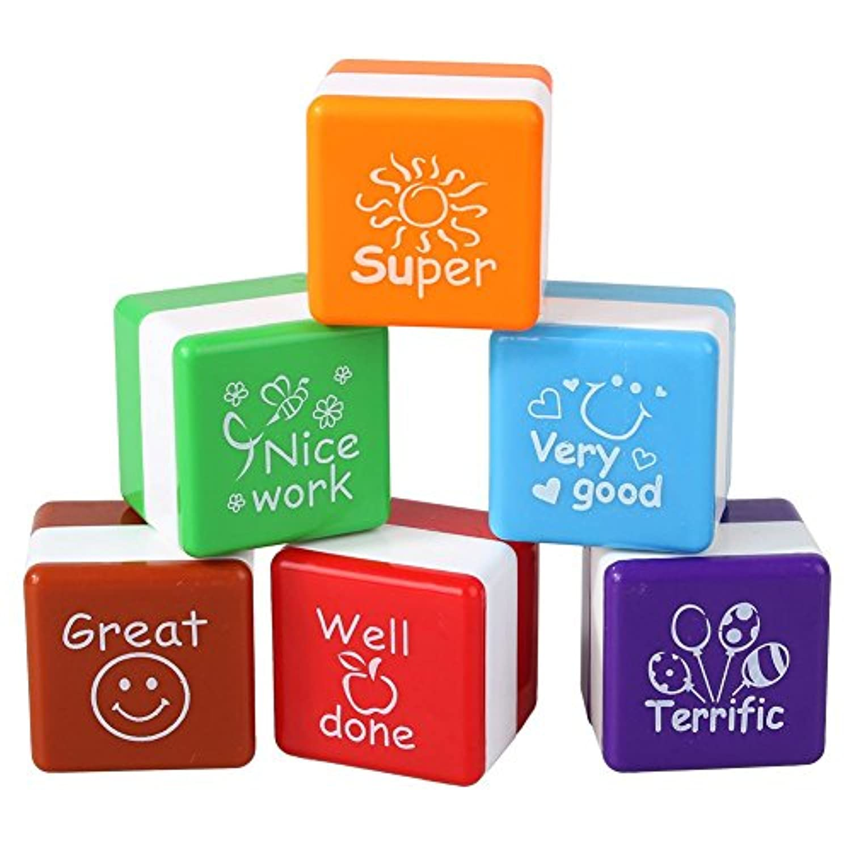 スタンプ インクパッド 学生用品 教師奨励 賛美 報酬 デコレーション ミニ 6色セット (カラフル1)