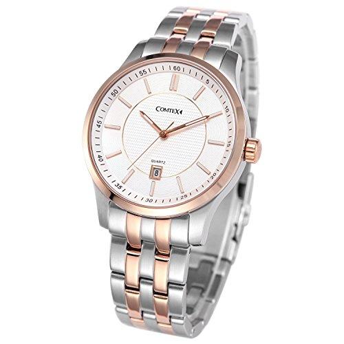 Comtex メンズ腕時計 ホワイト文字盤 ピンクゴールド ウオッチ カレンダー 男性用 クオーツ 時計