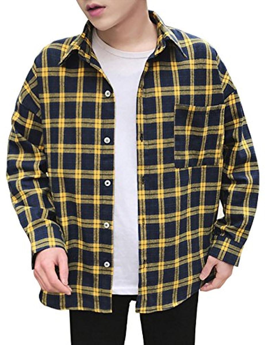 岸視線粗いメンズ シャツ 長袖 チェックシャツ 大きいサイズ ギンガムチェック カジュアル yシャツ Glestore(グラストア) レッド イエロー グリーンS-XXXL