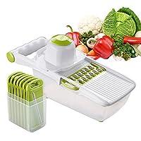 1の6 野菜とフルーツのチョッパー シュレッダー、 6つの交換可能な食品等級のステンレス鋼の刃、 ピーラー、収納容器、ハンドプロテクター付き,Green