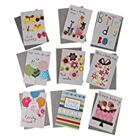 D DOLITY 誕生日カード  封筒付 グリーティングカード 可愛い 誕生日パーティー お祝い 3タイプ選べ - 9枚 15 x 10.3cm