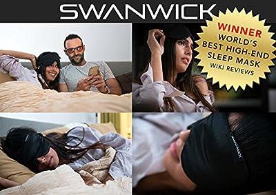 Swanwick Sleep - 100% Pure Silk Sleep Mask - Oversized to Banish Light While Sleeping - Luxury High-End Eye Mask for Travelling, Meditation, Afternoon Naps