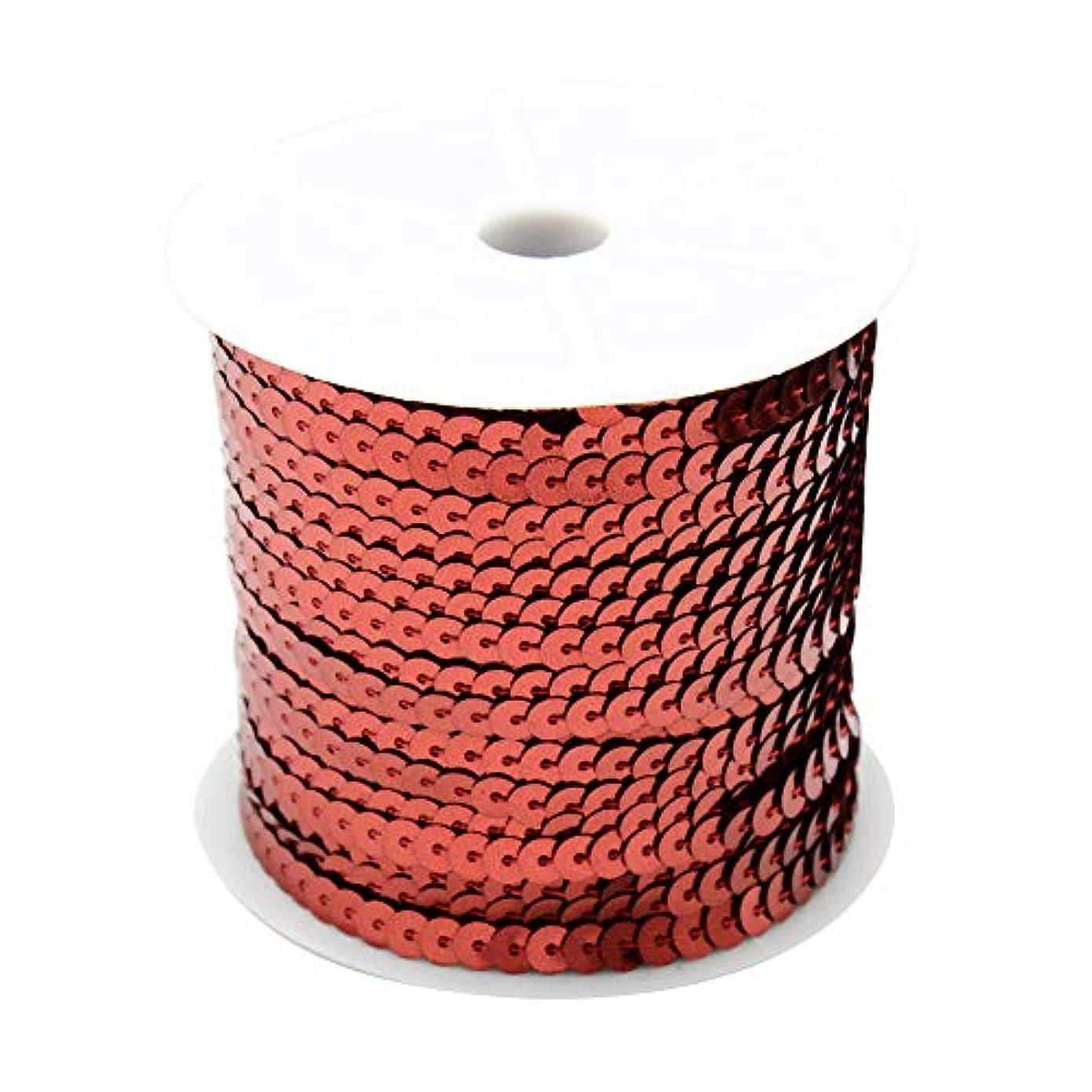 リップ休日湖OLYCRAFT スパンコールテープ 手芸用 長さ91.44m巻き 幅4mm レッド スパンコール ブレード アクセサリー パーツ 手作り 用 100ヤード 1ロール 赤