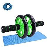 MOTOUE エクササイズローラー スリムトレーナー 腹筋ローラー 超静音 アブホイール アブローラー フィットネスローラー エクササイズウィル 腹筋トレーニング 腹筋強化 膝を保護するマットとスポーツアイスタオルも付き (黒緑)