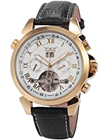Mix & RockメンズエレガントレザーAutomatic Mechanical Golden Case Wrist Watch with Date Day Display