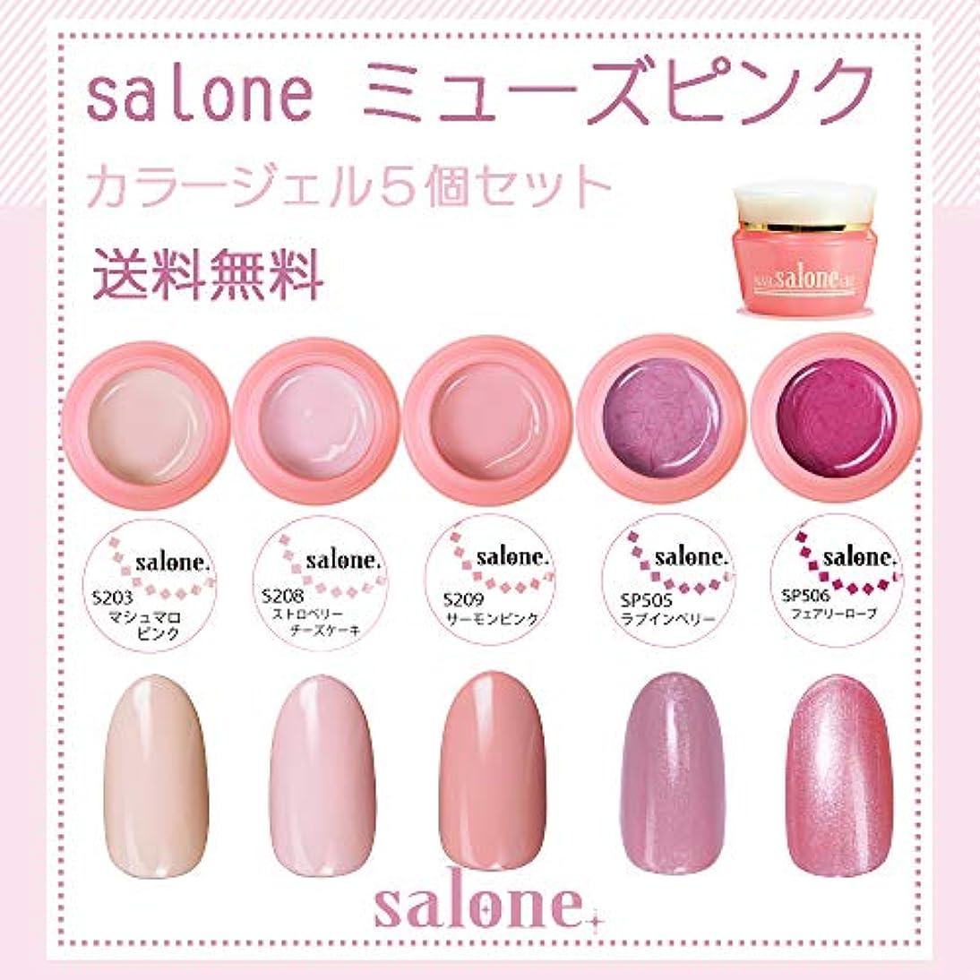 を必要としています定刻運ぶ【送料無料 日本製】Salone ミューズピンク カラージェル5個セット 春にピッタリでトレンドカラーのミューズピンク