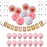 Baby Shower Decoration Set for Girl ? 43 Piece Party Decor Supplies Includes  It's A Girl  Banner Pink Balloons Tissue Paper Pom Poms and More! ? by Grand Joys [並行輸入品]