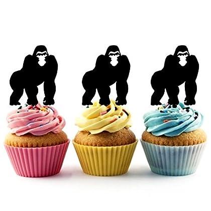 JPTA0114 ゴリラ Gorilla アクリル製 カップケーキトッパー ケーキトッパー ケーキスティック 結婚式 誕生日 パーティー 装飾用品 アクセサリー 10本